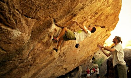 Bouldering in Hueco. Photo from  Socorro Boulding Guide