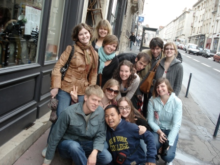 Outside the cheese restaurant in Nancy with all the other assistants. April 2007