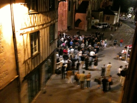 The crowd outside my apartment waiting for the polychromies. July 2010