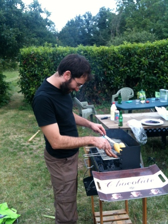 Barbecuing in the backyard. Summer 2012