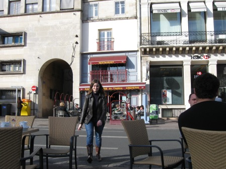 Sitting down for drinks on the Place d'Armes, Poitiers, before it got redone. March 2010