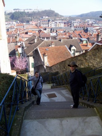 Walking through the ville haute in Bar le Duc with my parents, March 2007