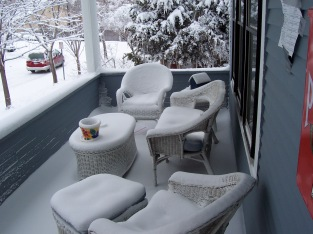 Our front porch in Saint Paul after a blizzard