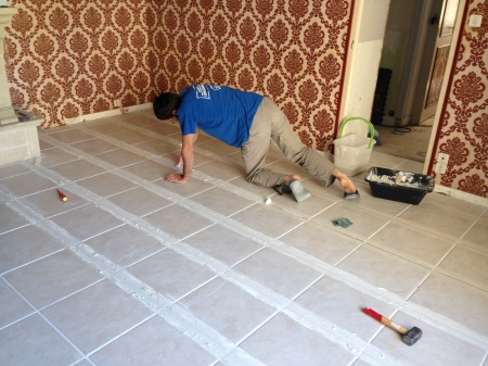 Finishing the grout