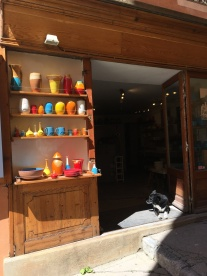 Pottery shop and its dog